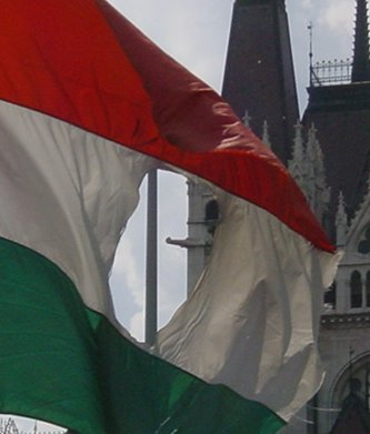Hungarian torn flag 1956 in Budapest