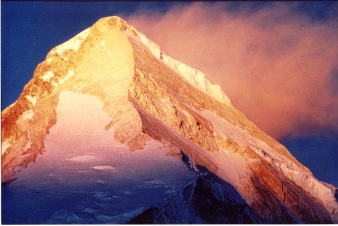 Khan-Tengri Mountain at sunset